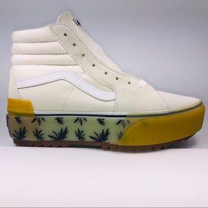 VANS SK8 HI Stacked White Blue Palms Platform Shoe